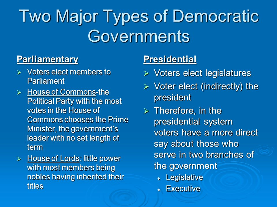 Two Major Types of Democratic Governments