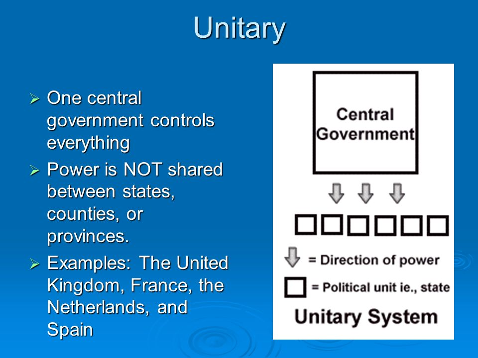 Unitary One central government controls everything