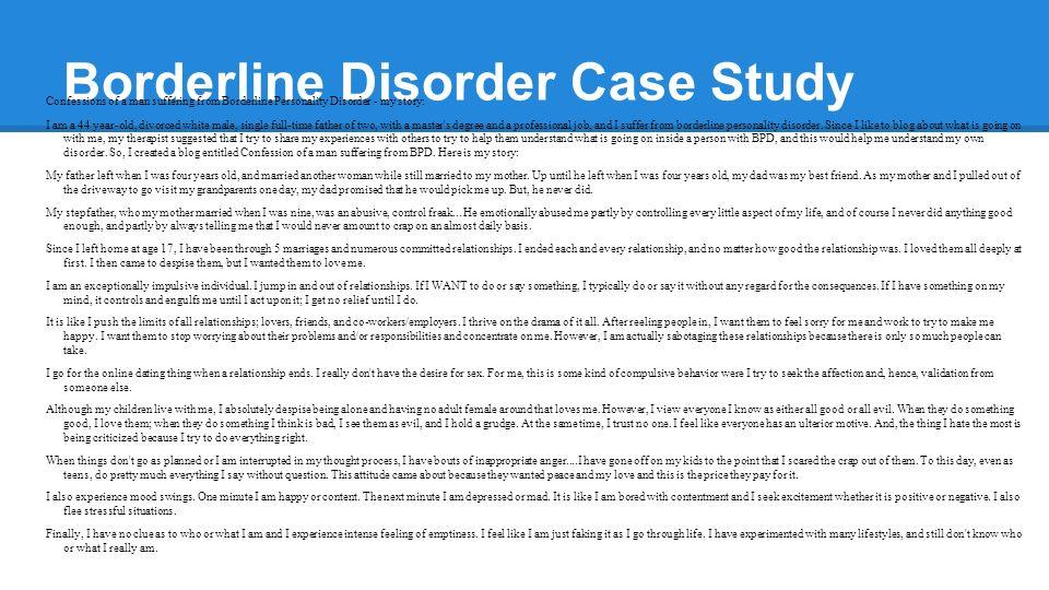 Case Studies In Abnormal Psychology Borderline Personality Disorder