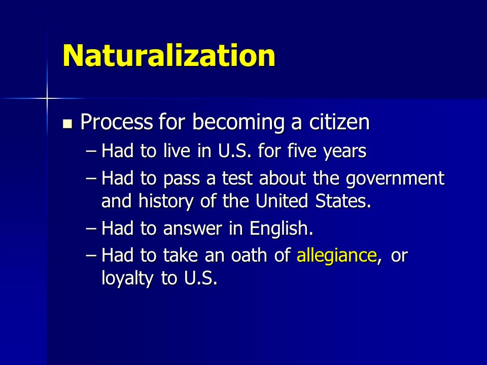 Naturalization Process for becoming a citizen