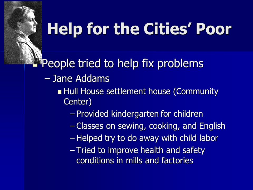 Help for the Cities' Poor