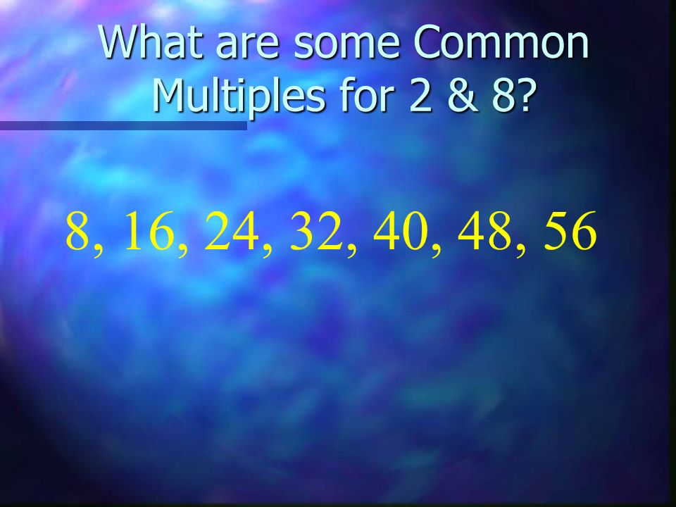 What are some Common Multiples for 2 & 8