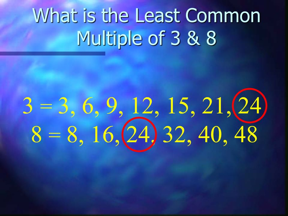 What is the Least Common Multiple of 3 & 8