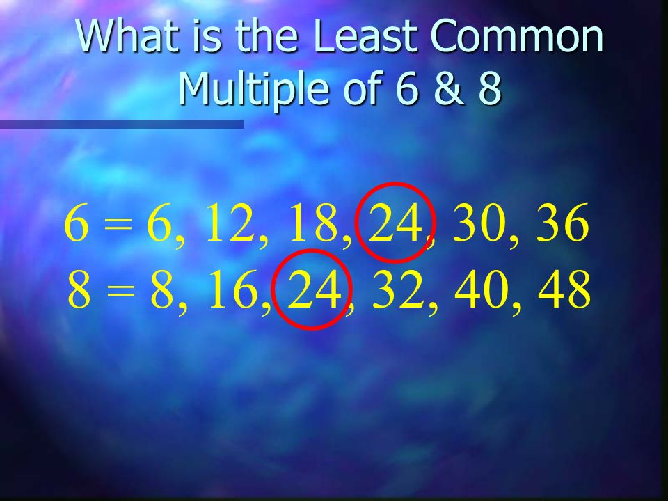 What is the Least Common Multiple of 6 & 8