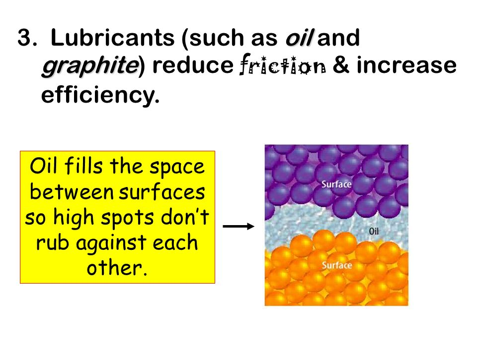 3. Lubricants (such as oil and graphite) reduce friction & increase efficiency.