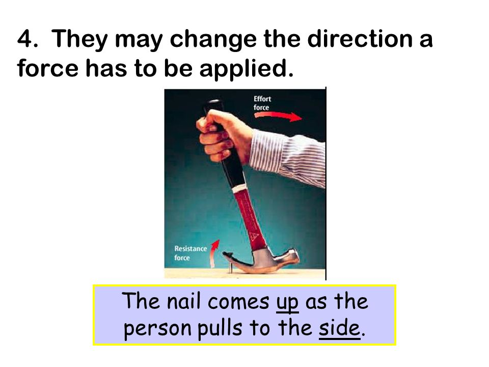 The nail comes up as the person pulls to the side.