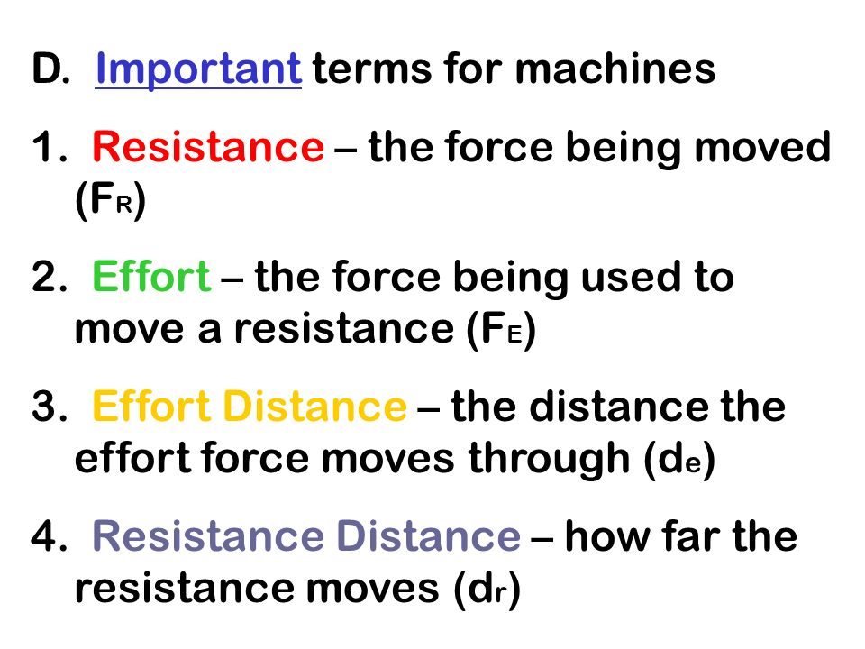 D. Important terms for machines