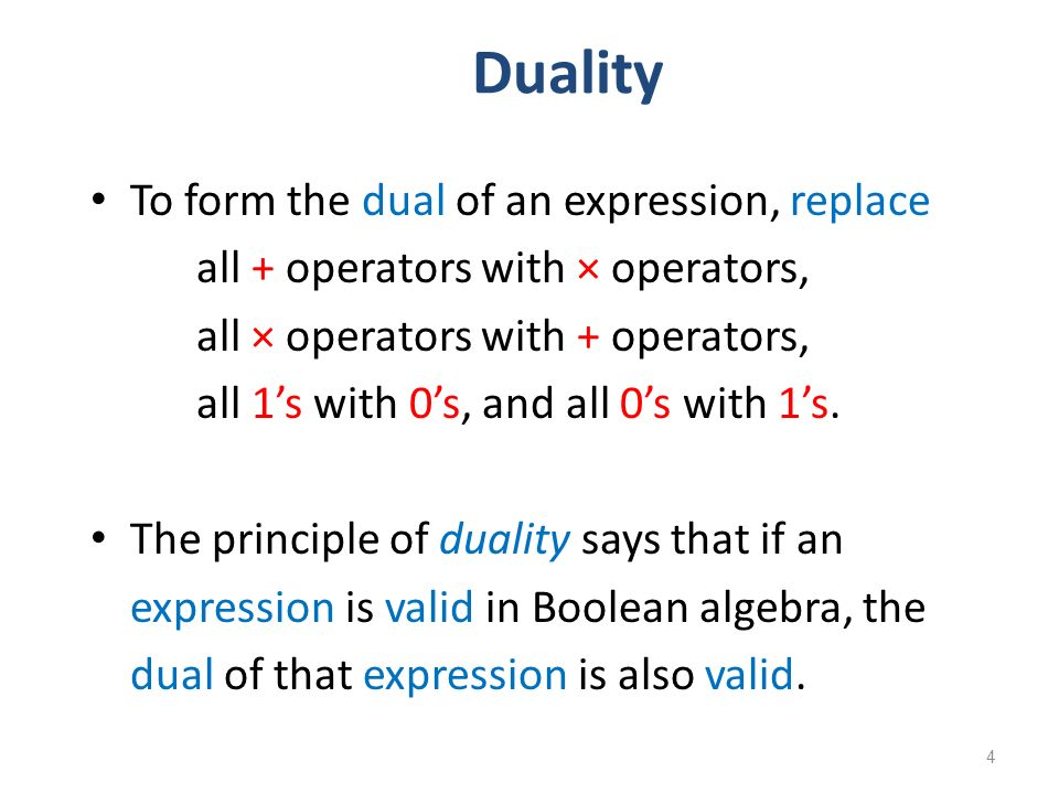 Duality To form the dual of an expression, replace