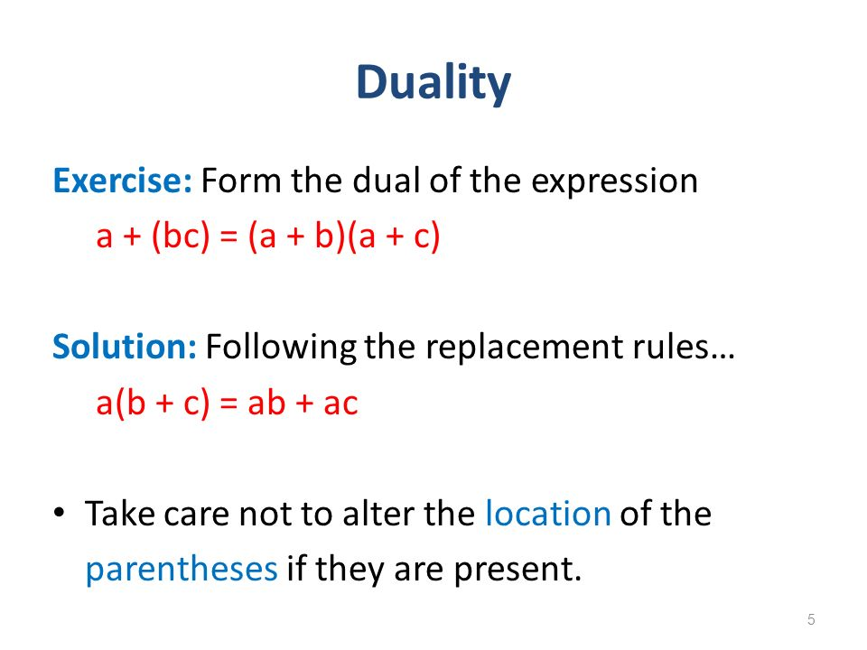 Duality Exercise: Form the dual of the expression