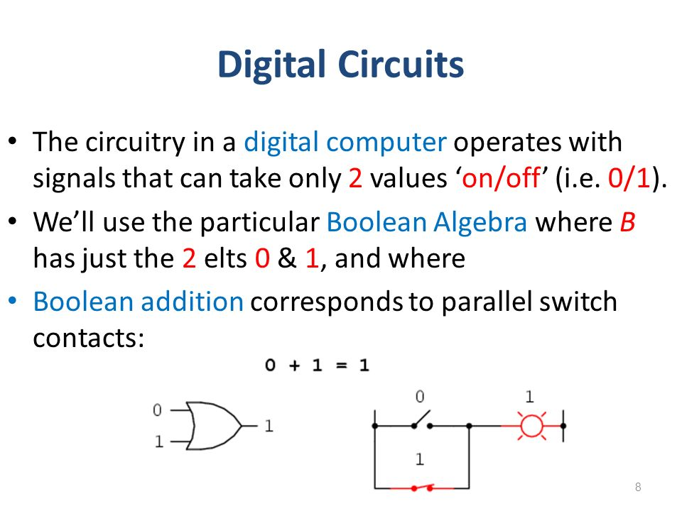 Digital Circuits The circuitry in a digital computer operates with signals that can take only 2 values 'on/off' (i.e. 0/1).