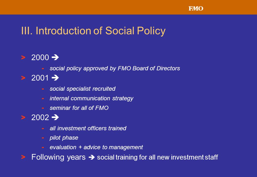 III. Introduction of Social Policy