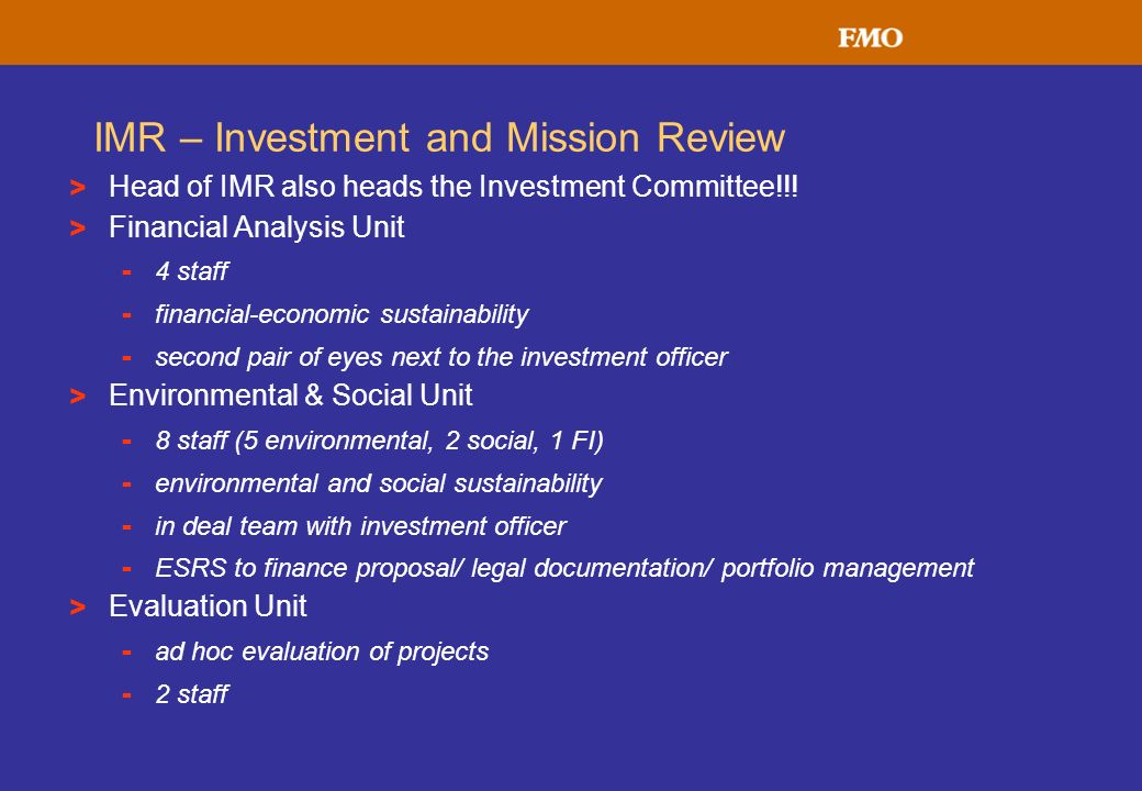 IMR – Investment and Mission Review