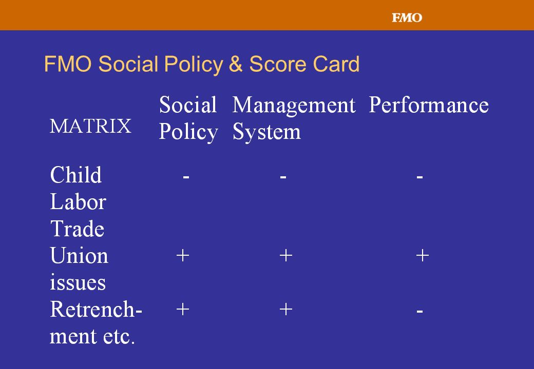 FMO Social Policy & Score Card