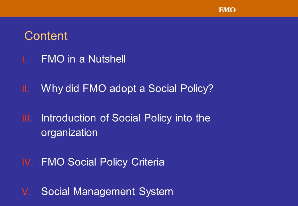 Content FMO in a Nutshell Why did FMO adopt a Social Policy