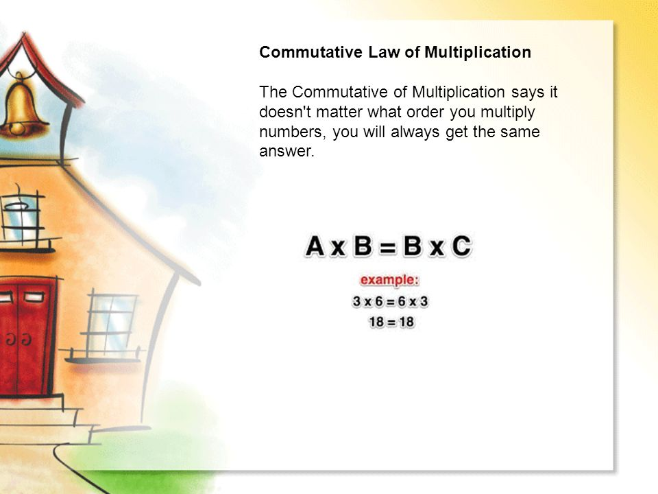Commutative Law of Multiplication The Commutative of Multiplication says it doesn t matter what order you multiply numbers, you will always get the same answer.