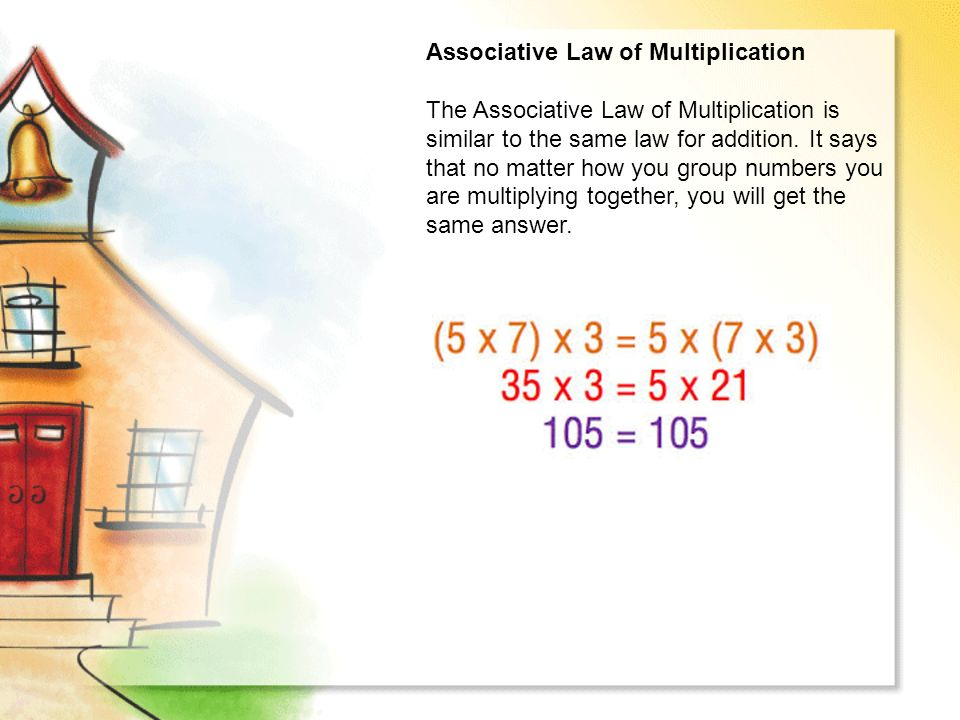Associative Law of Multiplication The Associative Law of Multiplication is similar to the same law for addition.