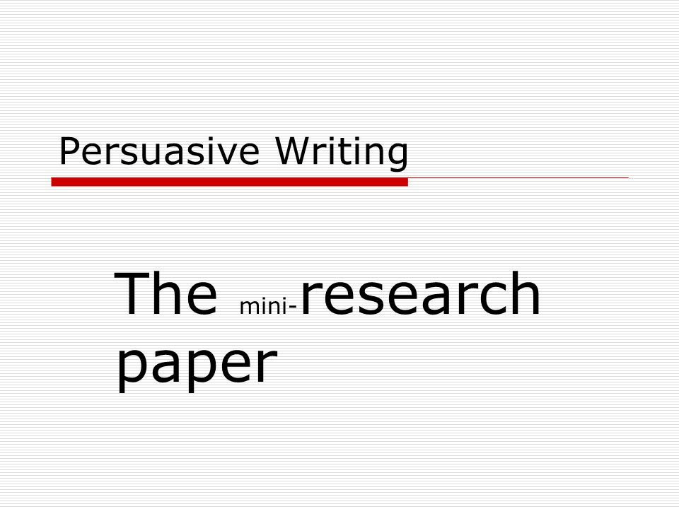 The mini-research paper
