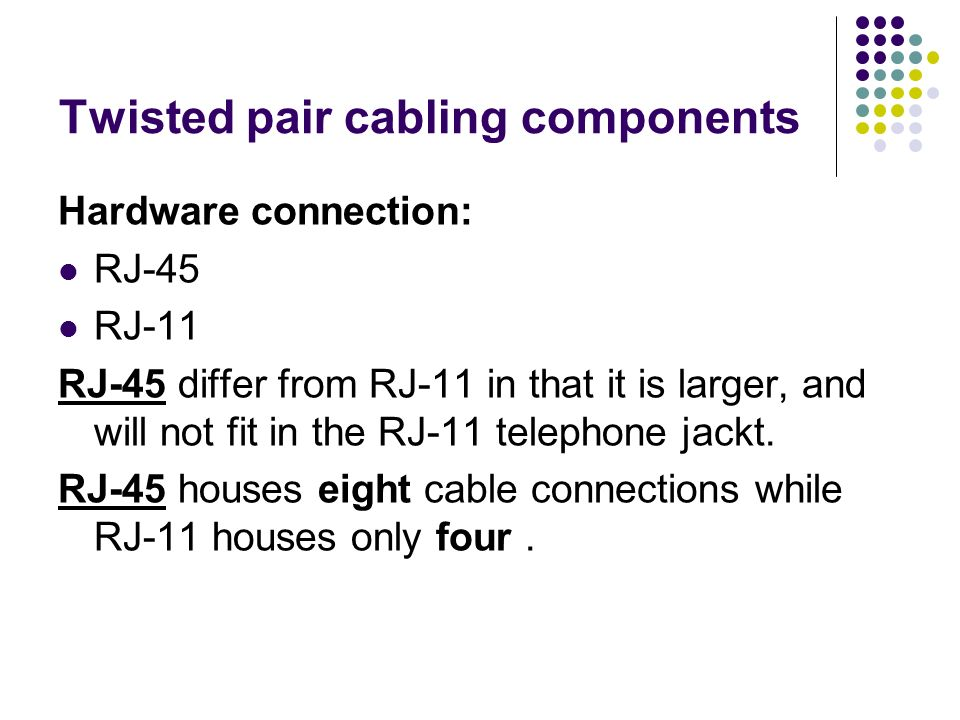 Twisted pair cabling components