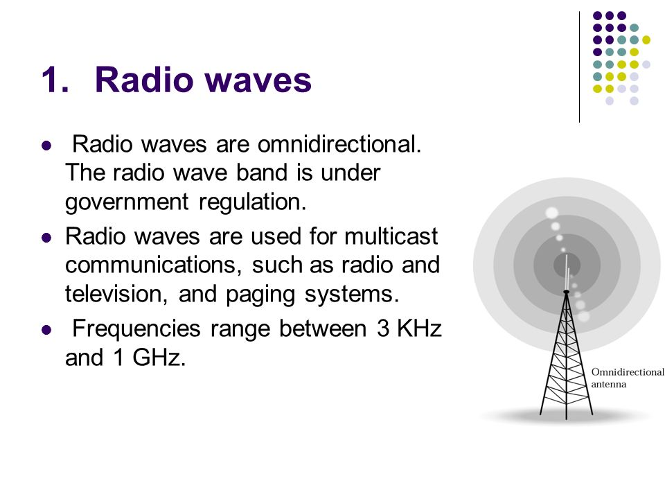 Radio waves Radio waves are omnidirectional. The radio wave band is under government regulation.