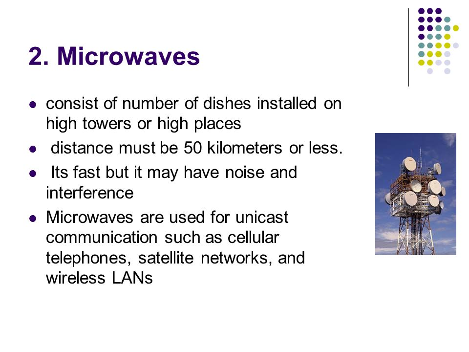 2. Microwaves consist of number of dishes installed on high towers or high places. distance must be 50 kilometers or less.