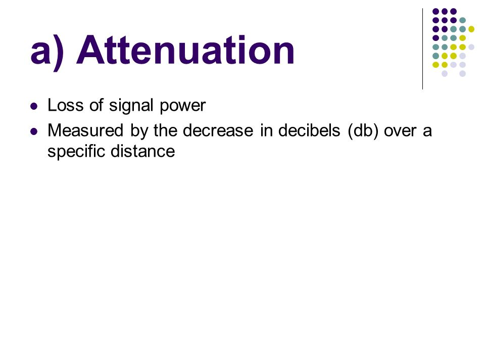 a) Attenuation Loss of signal power