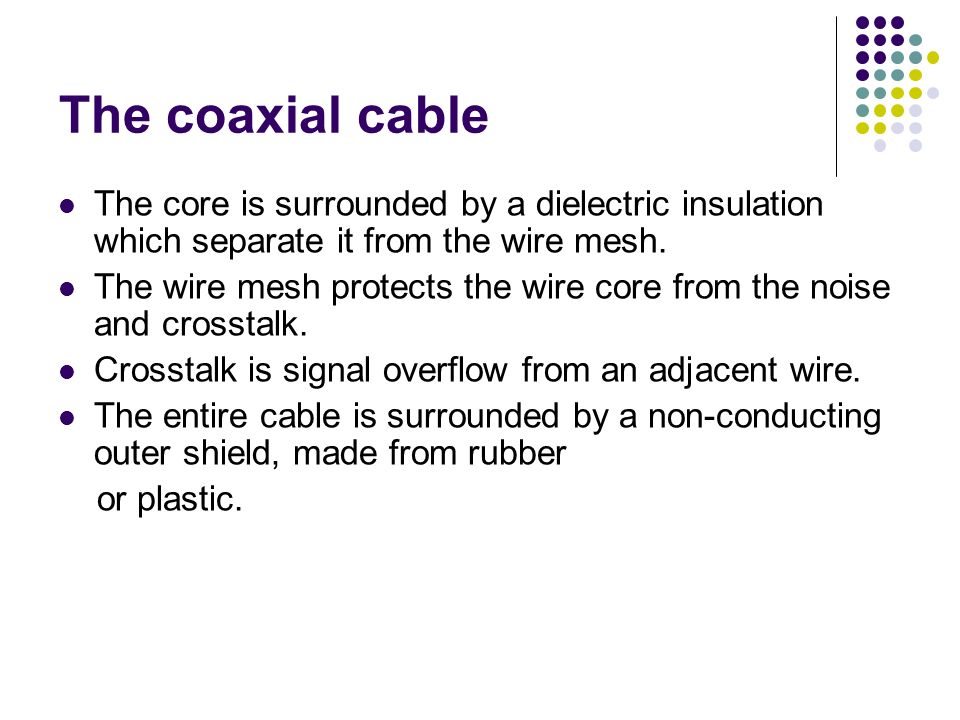 The coaxial cable The core is surrounded by a dielectric insulation which separate it from the wire mesh.