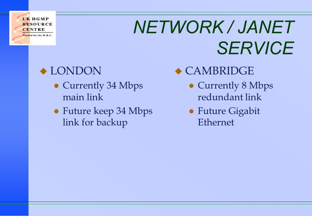 NETWORK / JANET SERVICE