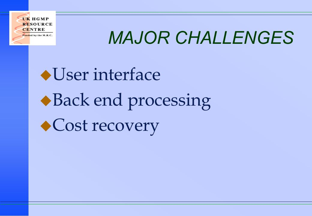 MAJOR CHALLENGES User interface Back end processing Cost recovery
