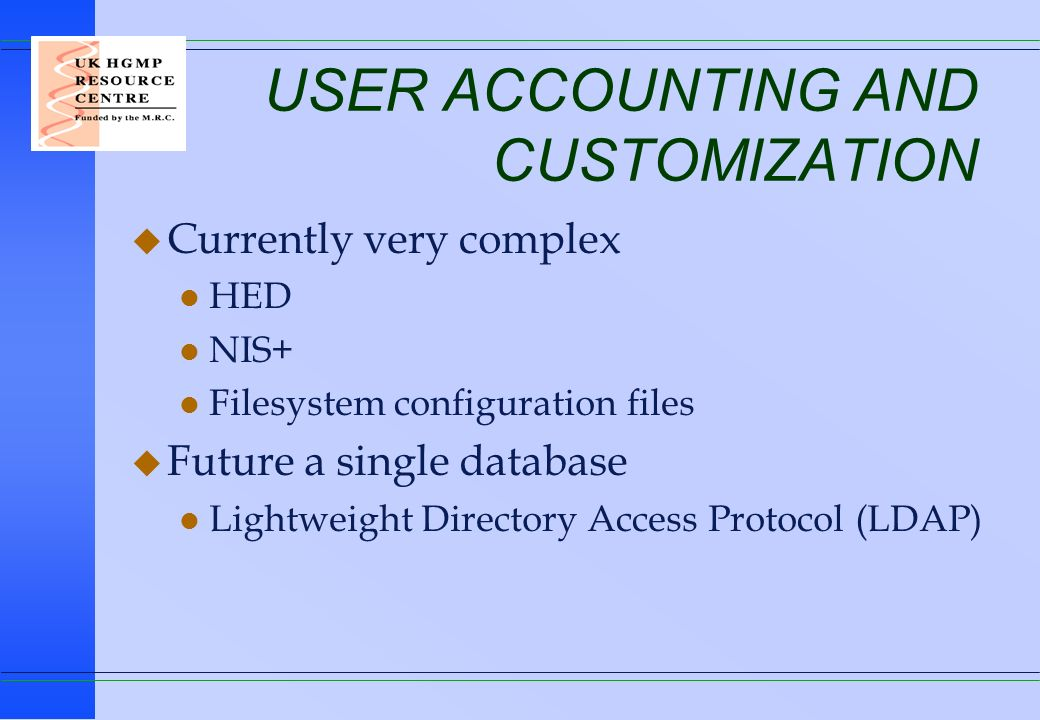 USER ACCOUNTING AND CUSTOMIZATION