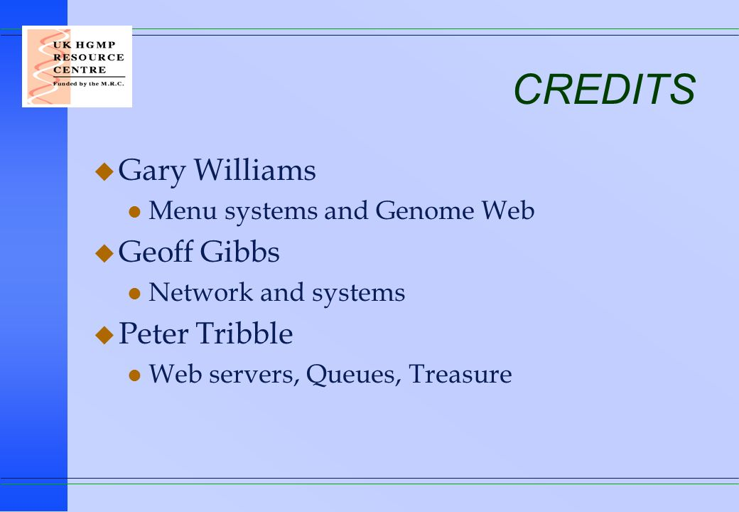 CREDITS Gary Williams Geoff Gibbs Peter Tribble