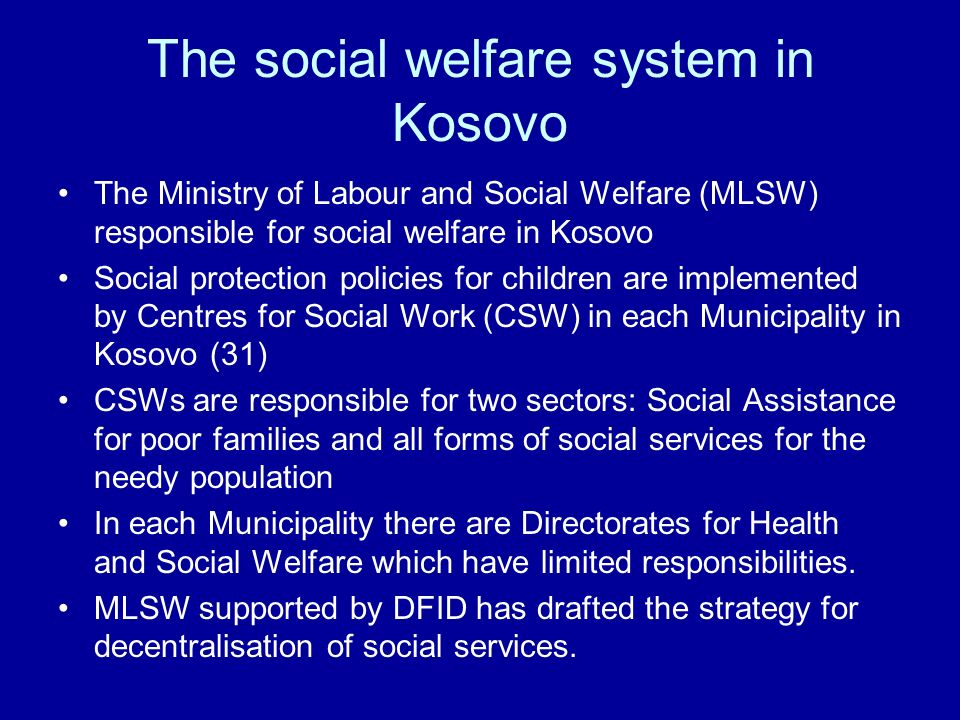 The social welfare system in Kosovo
