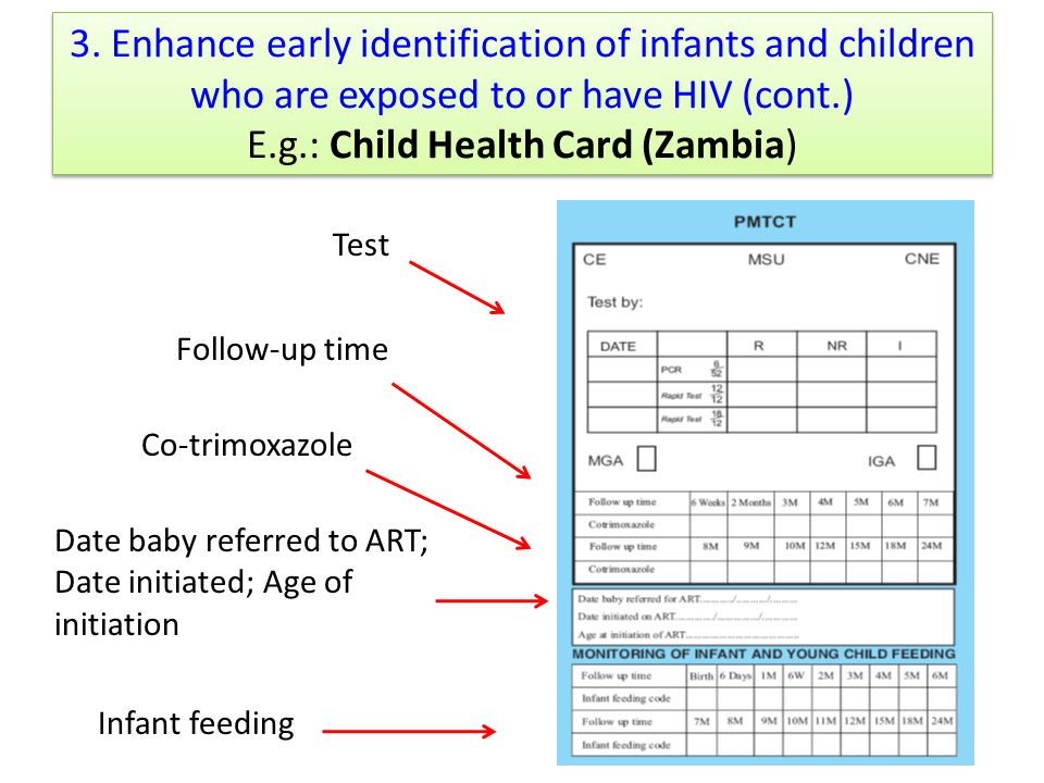 3. Enhance early identification of infants and children who are exposed to or have HIV (cont.) E.g.: Child Health Card (Zambia)