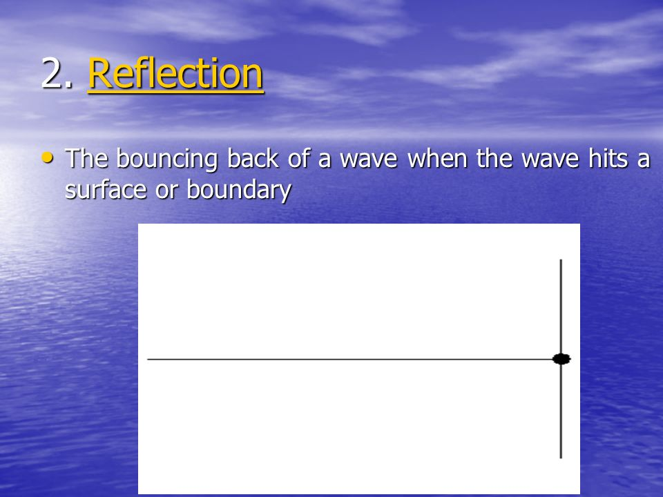 2. Reflection The bouncing back of a wave when the wave hits a surface or boundary
