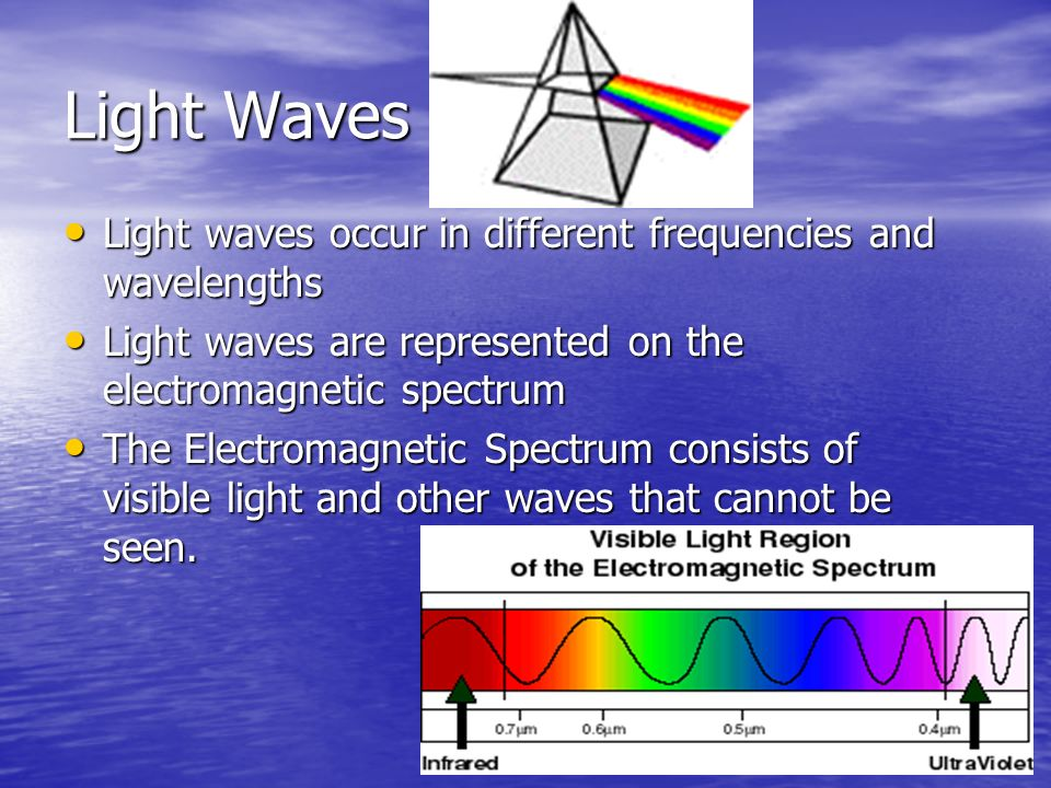 Light Waves Light waves occur in different frequencies and wavelengths