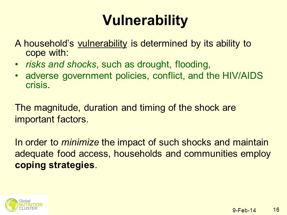 Vulnerability A household's vulnerability is determined by its ability to cope with: risks and shocks, such as drought, flooding,