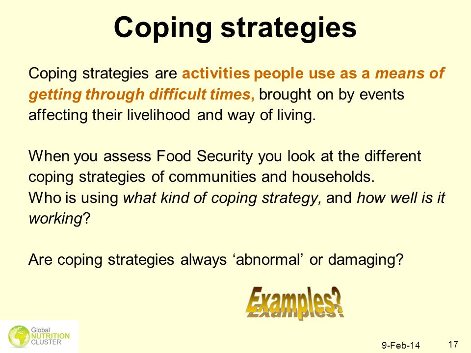 Coping strategies Examples