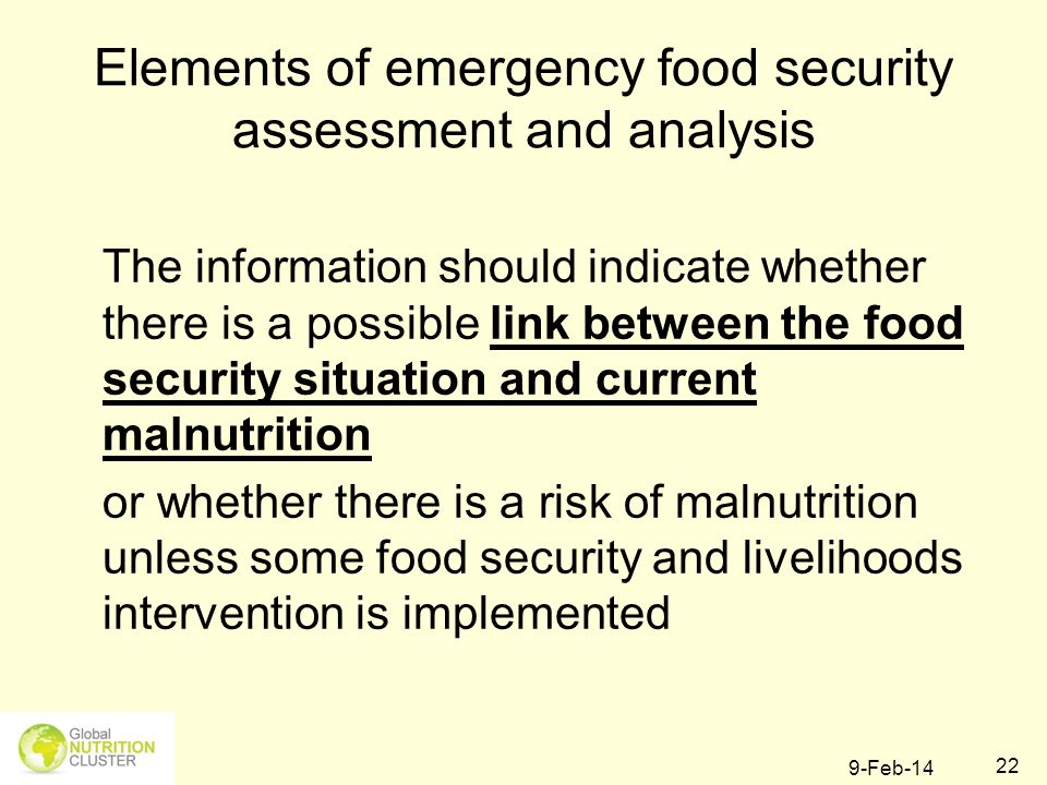 Elements of emergency food security assessment and analysis
