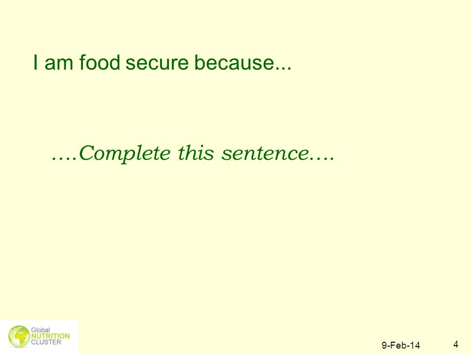 I am food secure because...