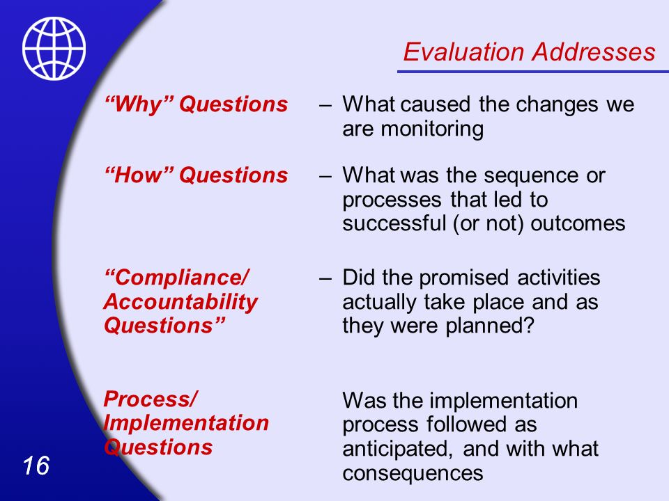 Evaluation Addresses Why Questions –