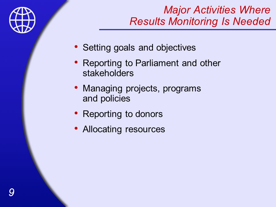 Major Activities Where Results Monitoring Is Needed