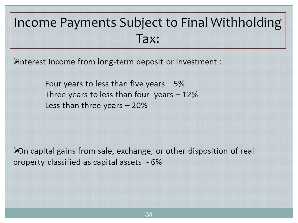 Capital Gains Tax On Disposition Of Real Property
