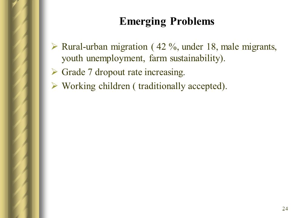 Emerging Problems Rural-urban migration ( 42 %, under 18, male migrants, youth unemployment, farm sustainability).