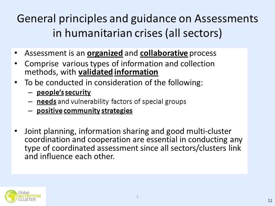 General principles and guidance on Assessments in humanitarian crises (all sectors)