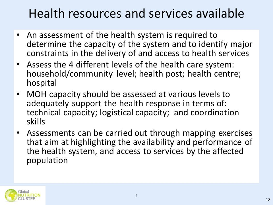Health resources and services available
