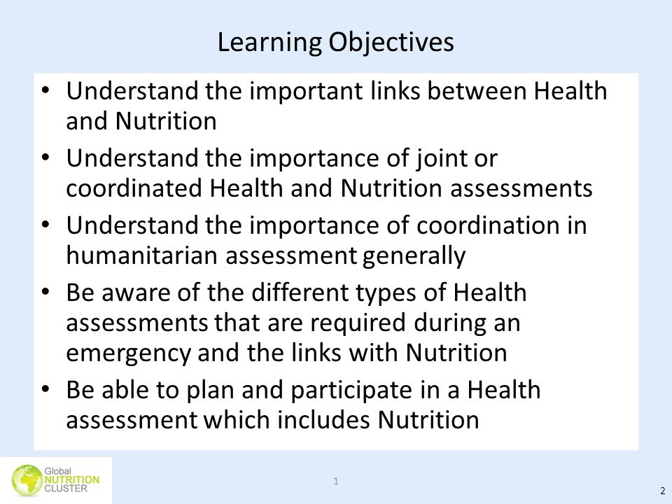 Learning Objectives Understand the important links between Health and Nutrition.