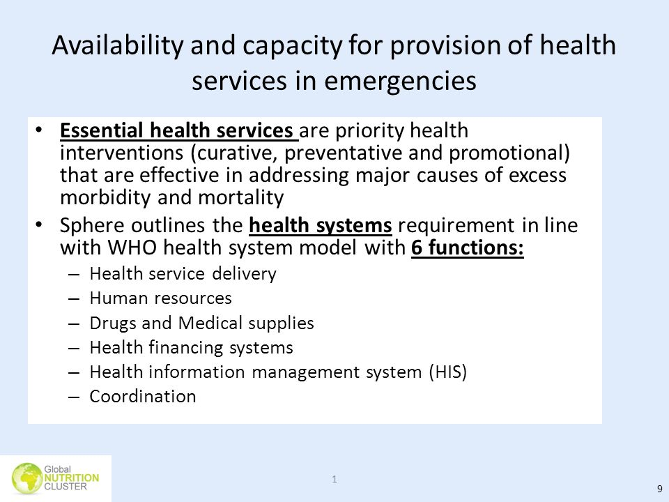 Availability and capacity for provision of health services in emergencies