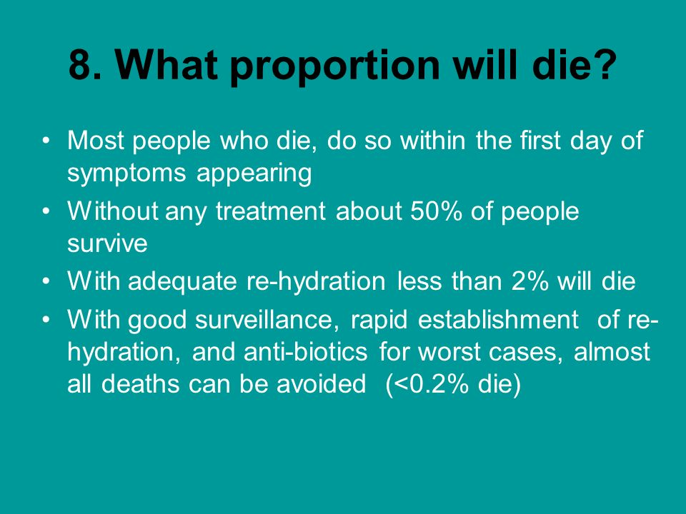 8. What proportion will die