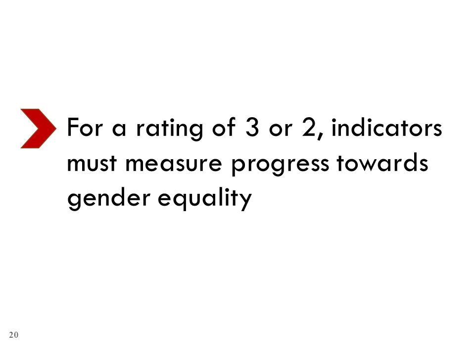For a rating of 3 or 2, indicators must measure progress towards gender equality