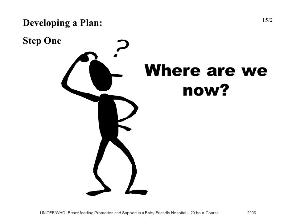 Where are we now Developing a Plan: Step One 15/2
