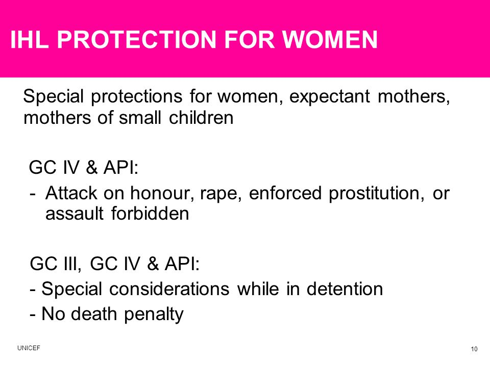 IHL PROTECTION FOR WOMEN